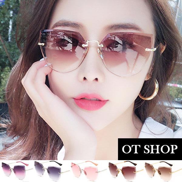 OT SHOP太陽眼鏡‧韓系時尚金屬貓眼無框墨鏡‧漸層粉/漸層茶/漸層灰/漸層紅/灰紫漸層‧現貨‧U80