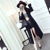 風衣女中長款韓版秋季2018新款氣質西裝領綁帶收腰長袖寬鬆外套  良品鋪子