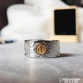 戒指印第安日式潮流復古風格唐草紋圖騰太陽飛鳥點金鈦鋼男女寬戒指環 聖誕節