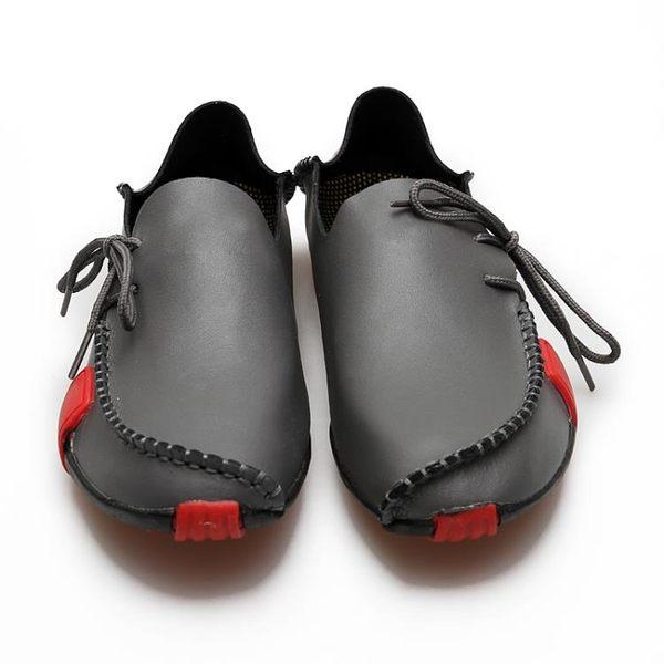 夏季豆豆鞋男鞋夏季休閒鞋韓版真皮單鞋駕車潮流皮鞋男潮鞋子【叢林之家】