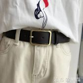皮帶韓國uzzlang長方形銅扣chic復古簡約女士寬腰帶PU皮 法布蕾輕時尚