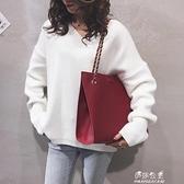 網紅包包女新款韓版大容量托特包PU休閒購物手提單肩斜背包潮【快速出貨】