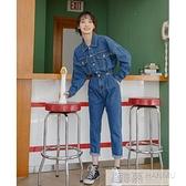 春秋高腰顯瘦牛仔連身褲女春2021年春季連衣褲直筒寬鬆工裝連身衣 夏季新品