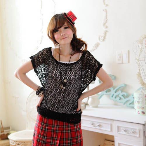 【CERES席瑞絲】浪漫編織縷空真兩件式上衣-黑色(Q0966-B)