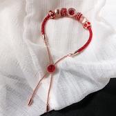 本命年紅繩百搭手串轉運珠皮編織手鏈可調節手镯紅色手飾品禮物女