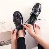 牛津鞋/紳士鞋 英倫風女鞋新復古厚底單鞋布洛克款式繫帶圓頭學院牛津小皮鞋 韓先生