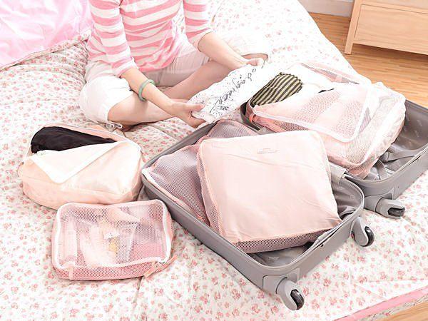 旅行收納袋五件組 旅遊收納箱 收納包行李箱收納 衣物收納盒行李袋包中包 【SV1419】BO雜貨