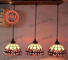 設計師美術精品館地中海 蒂凡尼燈飾餐廳燈具飯廳吊燈吧臺燈 餐廳燈三頭吊燈三聯燈