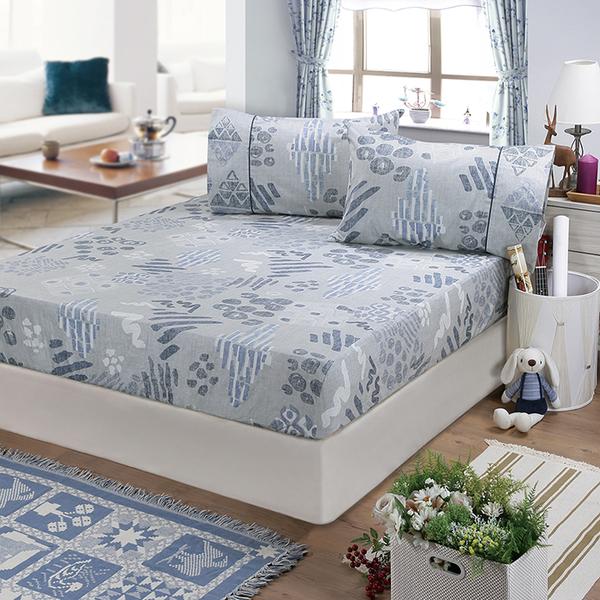 【FITNESS】精梳棉單人床包+枕套二件組-塗鴉樂(藍)_TRP多利寶