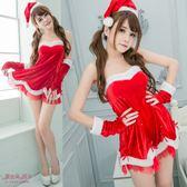 聖誕裝 大尺碼聖誕服 露肩平口洋裝-愛衣朵拉