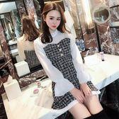 VK旗艦店 韓系呢子拼接雪紡假兩件喇叭袖裙長袖洋裝