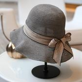 夏季遮陽帽絲帶裝飾漁夫帽可折疊遮陽沙灘帽子休閒百搭草帽 全館八五折 最後一天!