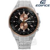 EDIFICE CASIO / EFR-549D-1B9 / 卡西歐完美獨創進化三環日期不鏽鋼手錶 黑x玫瑰金框x銀 47mm