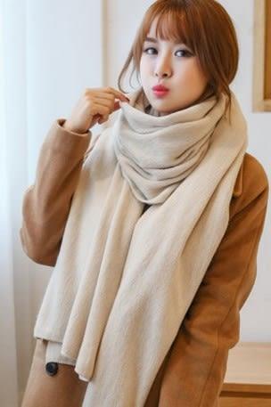 [協貿國際]  女士冬季純色毛線圍巾加厚披肩 (1入)