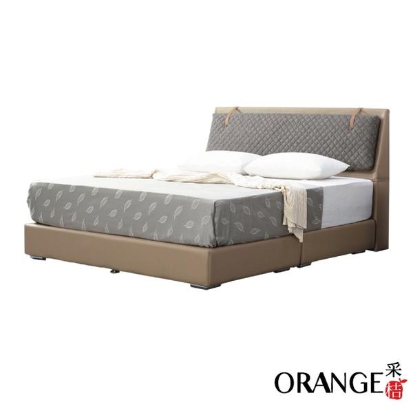 【采桔家居】阿克拉 現代6尺皮革雙人加大床台組合(二色可選+床頭+床底+不含床墊)