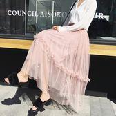歐洲站港味百褶裙半身裙女2018春夏新款時尚半身長裙網紗裙中長款  良品鋪子