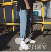 春季褲子男士牛仔褲破洞韓版潮流小腳褲學生港風個性男褲九分褲