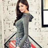 女子韓版春夏瑜伽服兩件套灰色長袖連帽上衣印花緊身長褲215216米莎 misha