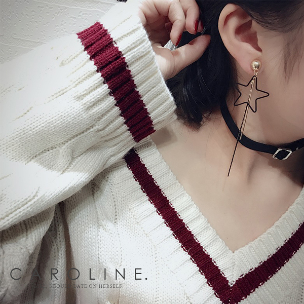 《Caroline》★韓國新品水鑽流蘇星星熱賣氣質風格時尚流行耳環69628