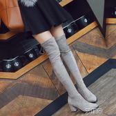 過膝靴 SW過膝長靴女粗高跟彈力長筒靴新款韓版百塔馬靴高筒靴子 igo 艾維朵