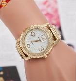 手錶 爆款時尚女士合金鑲鑚手錶齒輪鋼帶石英錶男款腕錶 俏girl
