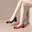 手工真皮大尺碼女鞋34-43 2020新款歐美優雅頭層粒面牛皮拼色方頭淺口中跟鞋 OL工作鞋 通勤鞋~2色
