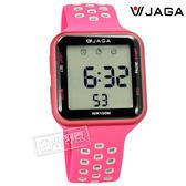 JAGA 捷卡 / M1179C-GC / 方型電子 計時碼錶 鬧鈴 防水100米 透氣運動 矽膠手錶 桃紅色 38mm