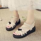 增高涼鞋 厚底涼鞋女仙女風新款夏綁帶增高平底學生百搭羅馬鞋-Ballet朵朵