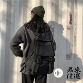 書包女時尚百搭雙肩包大容量黑色系背包【君來佳選】