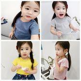兒童短袖棉針織素色T恤女寶嬰幼童打底衫上衣體恤 全館免運