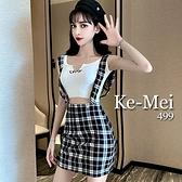 克妹Ke-Mei【ZT68307】ELLA字母短版背心+復古格紋吊帶裙套裝