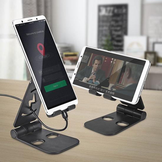 手機架 平板支架 手機座 攜帶型 充電底座 懶人支架 追劇神器 雙摺疊 手機支架 【J111】米菈生活館