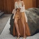 寬管褲女高腰垂感很仙的純色長褲墜感拖地褲海邊裙褲寬鬆沙灘褲夏 黛尼時尚精品