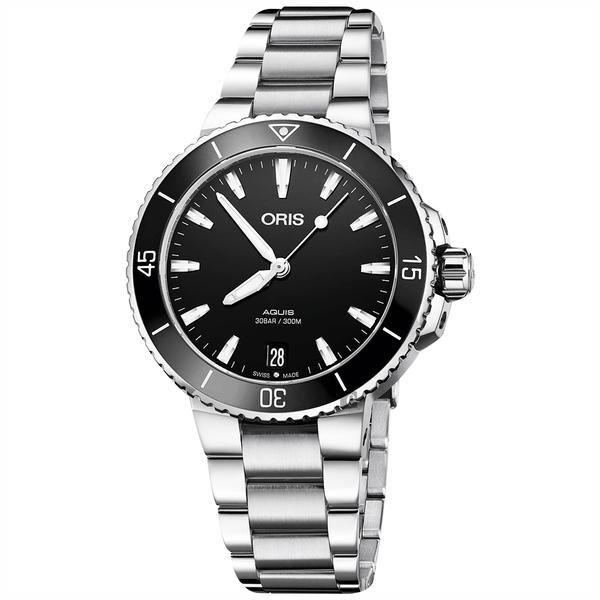 Oris豪利時 Aquis 時間之海潛水300米機械女錶-黑/36mm 0173377314154-0781805P