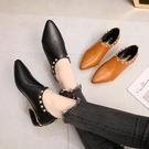 英倫風女鞋2020春季新款拼色系帶小皮鞋深口單鞋尖頭平底女鞋短靴 小山好物
