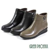 U15-20B38 女款全真皮小坡跟短靴 翻領垂墜壓克力水鑽全真皮小坡跟短靴【GREEN PHOENIX】