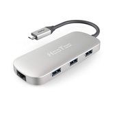 【美國代購-現貨】HooToo Shuttle 3.1 Type C MacBook專用USB Hub with100W充電+RJ45網路版本, HDMI 4K-Silver