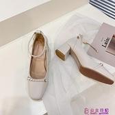 瑪麗珍單鞋春季新款百搭粗跟法式復古方頭淺口珍珠高跟鞋女超級品牌【公主日記】