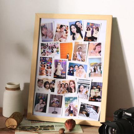 相框掛墻擺臺拍立得畫框裝裱照片拼圖diy禮物實木定製九宮格大框實木相框多款尺寸多色可選