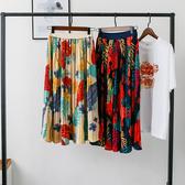 百褶裙(長裙)-熱帶植物印花高腰女裙子2色73xg5【時尚巴黎】