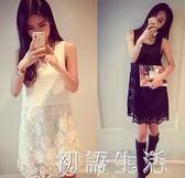 洋裝內搭中長款蕾絲刺繡吊帶背心裙外穿無袖百搭打底裙寬鬆大碼洋裝 初語生活