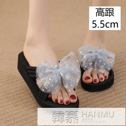 蝴蝶結涼拖鞋女夏2021新款坡跟厚底時尚百搭一字拖防滑外穿沙灘鞋 夏季新品