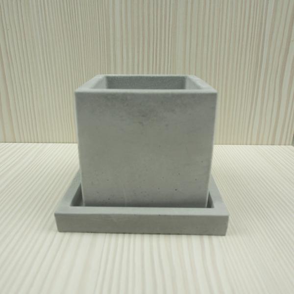 (BEAGLE) 正方型創意水泥盆栽+托盤 多肉水泥花器/仙人掌水泥花盆/水泥植栽/水泥盆器