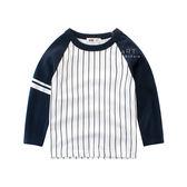 運動風直條紋拚色長袖T恤上衣 童裝 長袖 T-shirt