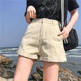 全館8折上折明天結束夏季女裝正韓寬鬆捲邊復古闊腿短褲顯瘦休閒熱褲百搭高腰牛仔褲潮