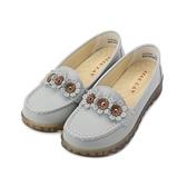 GOOD-DAY 牛皮小花縫線平底鞋 灰 女鞋