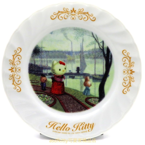 asdfkitty*KITTY收藏級古典陶瓷繪盤-湖畔散步-2001年絕版商品-外盒泛黃-日本正版
