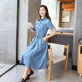 【雙12】全館低至6折短袖收腰牛仔裙連身春裝女中長款過膝連身裙西裝領韓式裙