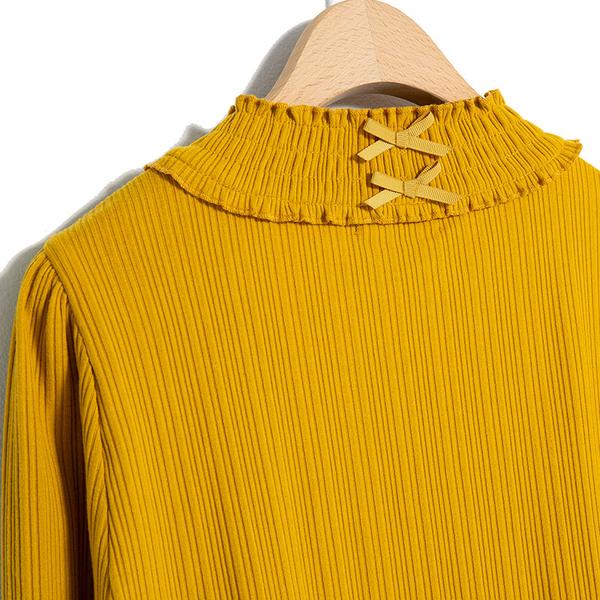 秋冬7折[H2O]特殊車小高領百搭彈性羅紋針織上衣 - 黃/黑/卡色 #9631012