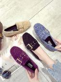 豆豆鞋子女韓版一腳蹬加絨毛毛瓢鞋水鑽平底單鞋   琉璃美衣